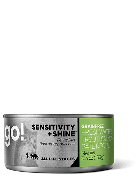 GO! SENSITIVITY + SHINE Grain Free Freshwater Trout + Salmon Pâté Recipe for cats