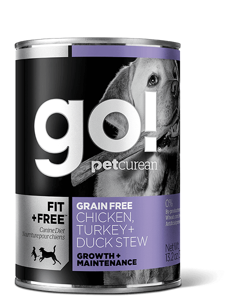 GO! FIT + FREE Grain Free Chicken, Turkey + Duck Stew Recipe for dogs