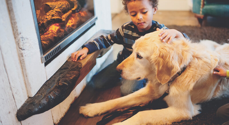 Dog and boy sitting by the fire