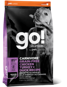 GO! SOLUTIONS CARNIVORE Grain Free Chicken, Turkey + Duck Senior Recipe for Dogs