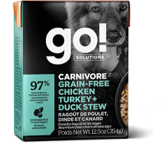 GO! SOLUTIONS CARNIVORE Grain Free Chicken, Turkey + Duck Stew for dogs